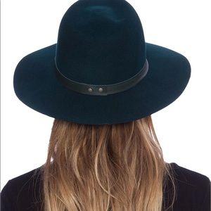 Janessa Leone Green Wool Stiff Brim Hat